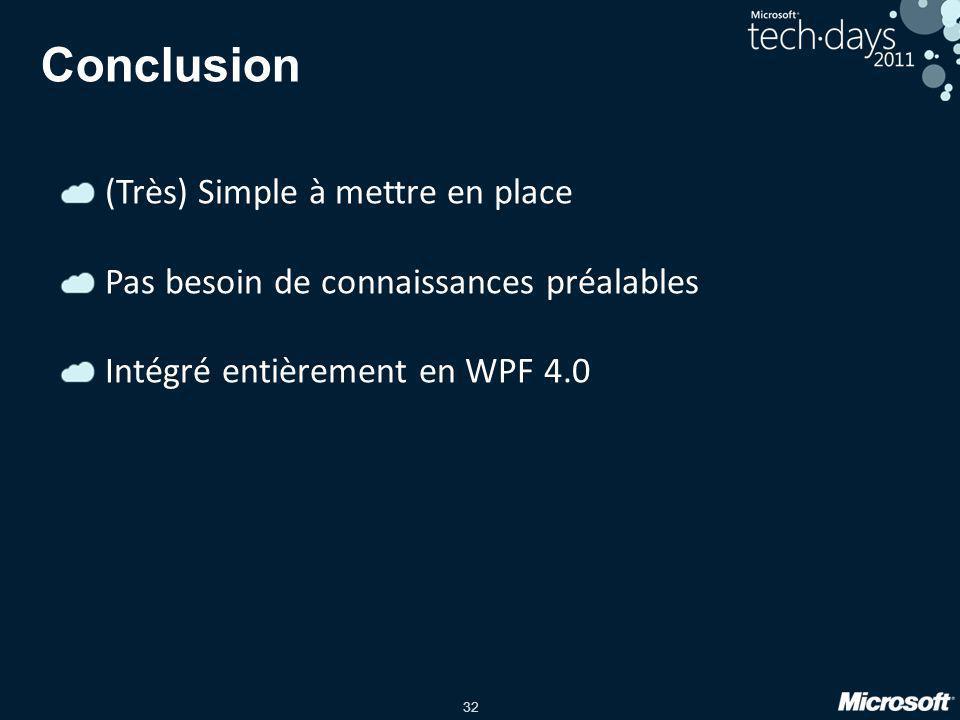 32 Conclusion (Très) Simple à mettre en place Pas besoin de connaissances préalables Intégré entièrement en WPF 4.0