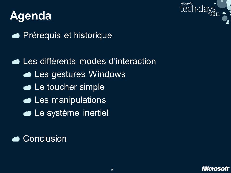 6 Agenda Prérequis et historique Les différents modes d'interaction Les gestures Windows Le toucher simple Les manipulations Le système inertiel Concl