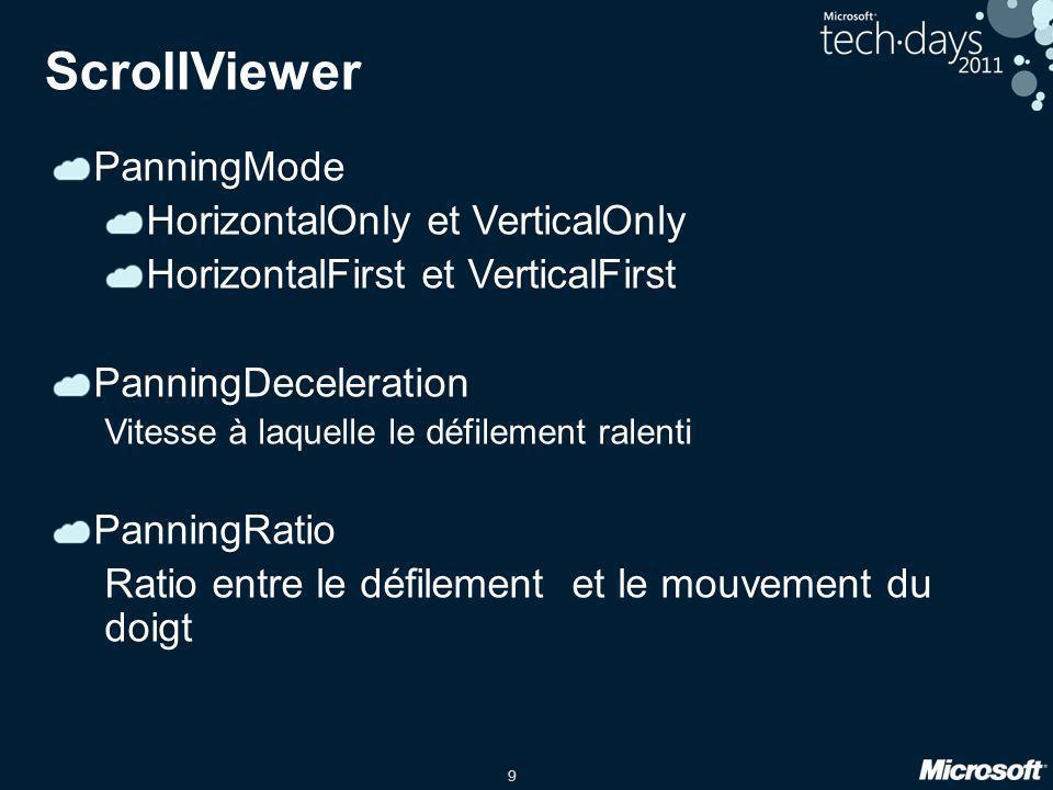 9 PanningMode HorizontalOnly et VerticalOnly HorizontalFirst et VerticalFirst PanningDeceleration Vitesse à laquelle le défilement ralenti PanningRati