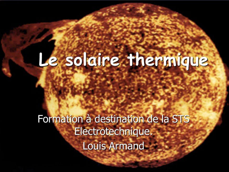 Principales utilisations du solaire thermique Le chauffe-eau solaire 4 à 6 m² de capteurs 40 à 70% des besoins d'eau chaude sanitaire Le système solaire combiné 10 à 20 m² de capteurs 25 à 40% des besoins de chauffage et d'eau chaude Production d'eau chaude solaire collective 1 à 2 m² de capteur par logement 30 à 60 % des besoins d'eau chaude