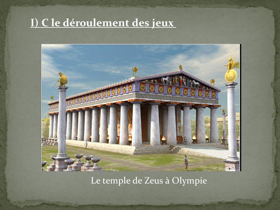 Le temple de Zeus à Olympie I) C le déroulement des jeux
