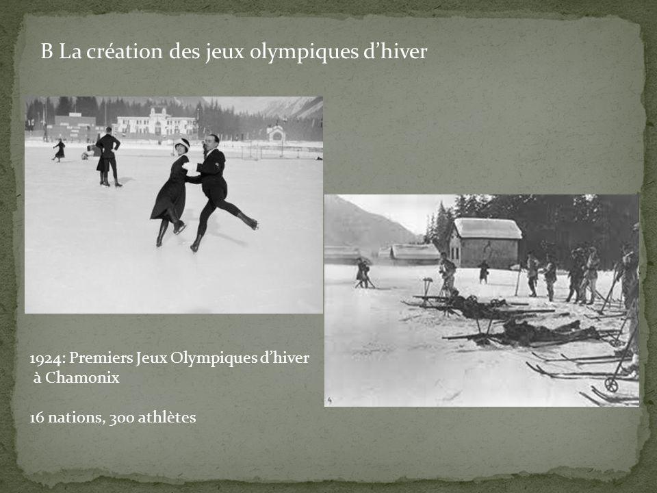 B La création des jeux olympiques d'hiver 1924: Premiers Jeux Olympiques d'hiver à Chamonix 16 nations, 300 athlètes