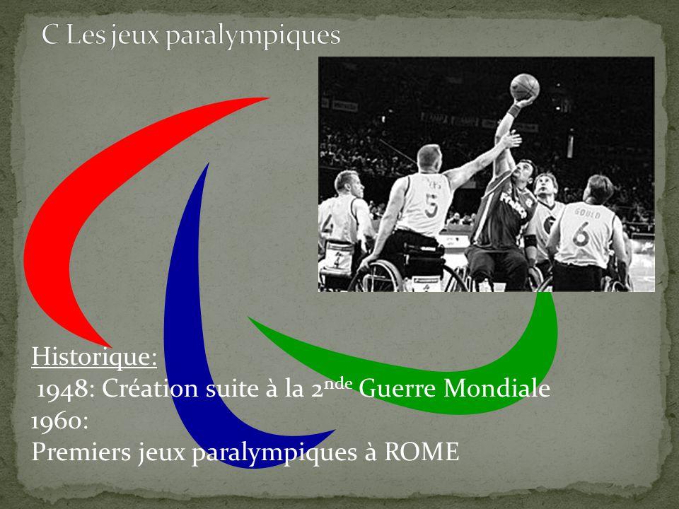 Historique: 1948: Création suite à la 2 nde Guerre Mondiale 1960: Premiers jeux paralympiques à ROME