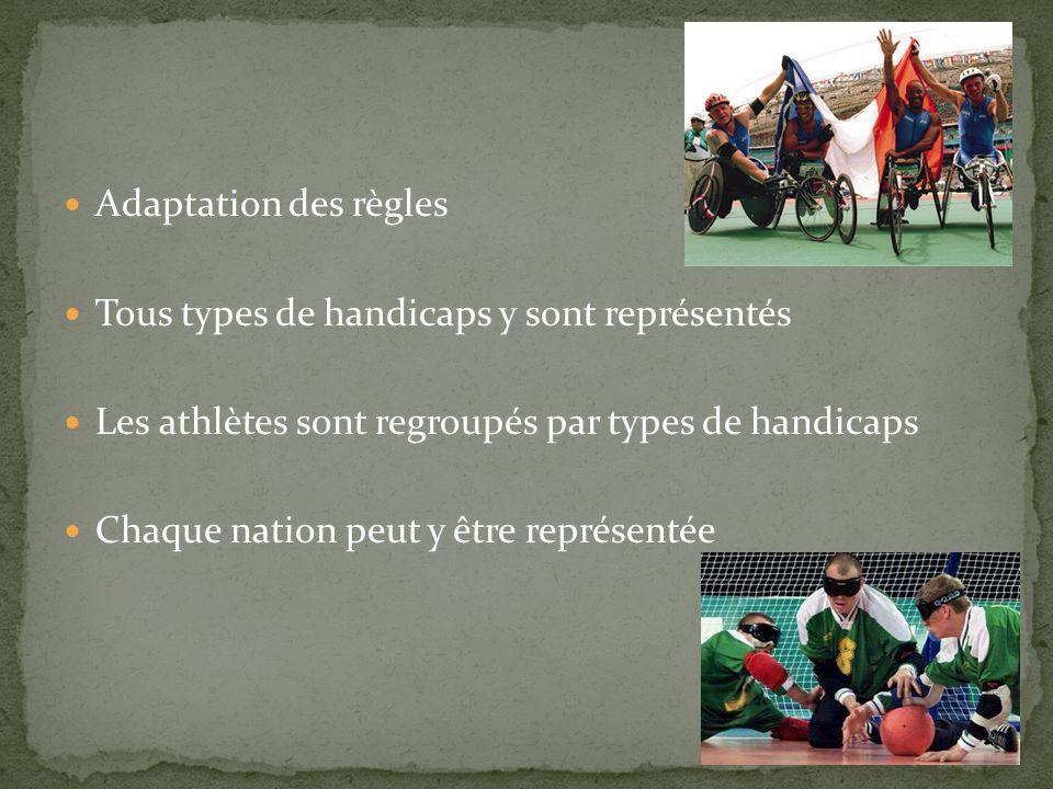  Adaptation des règles  Tous types de handicaps y sont représentés  Les athlètes sont regroupés par types de handicaps  Chaque nation peut y être