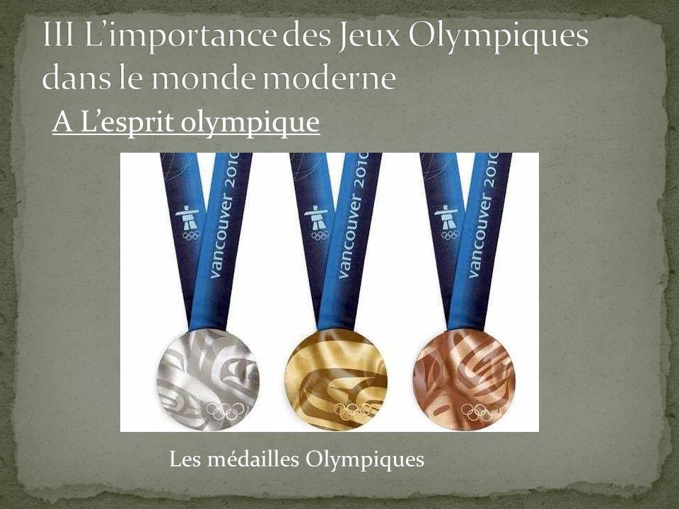 A L'esprit olympique Les médailles Olympiques