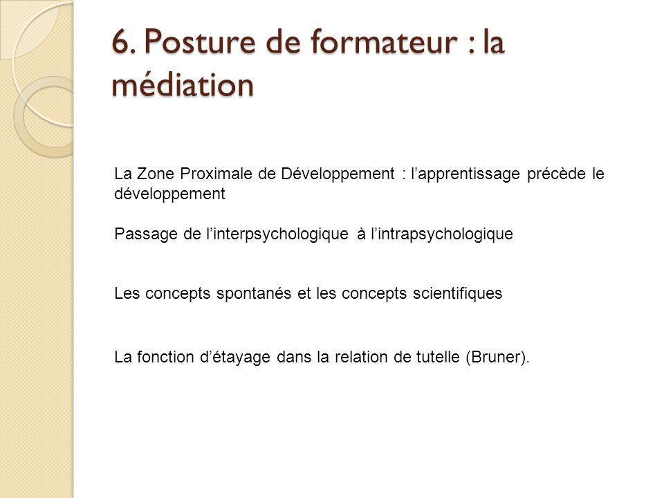 6. Posture de formateur : la médiation La fonction d'étayage dans la relation de tutelle (Bruner). La Zone Proximale de Développement : l'apprentissag