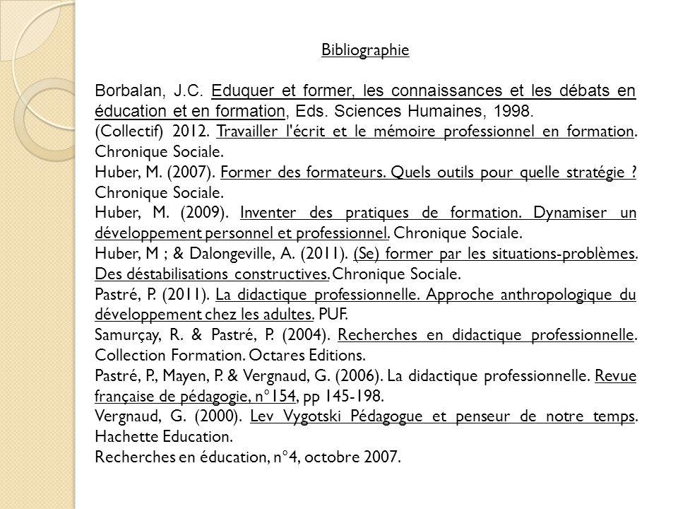 Bibliographie Borbalan, J.C. Eduquer et former, les connaissances et les débats en éducation et en formation, Eds. Sciences Humaines, 1998. (Collectif