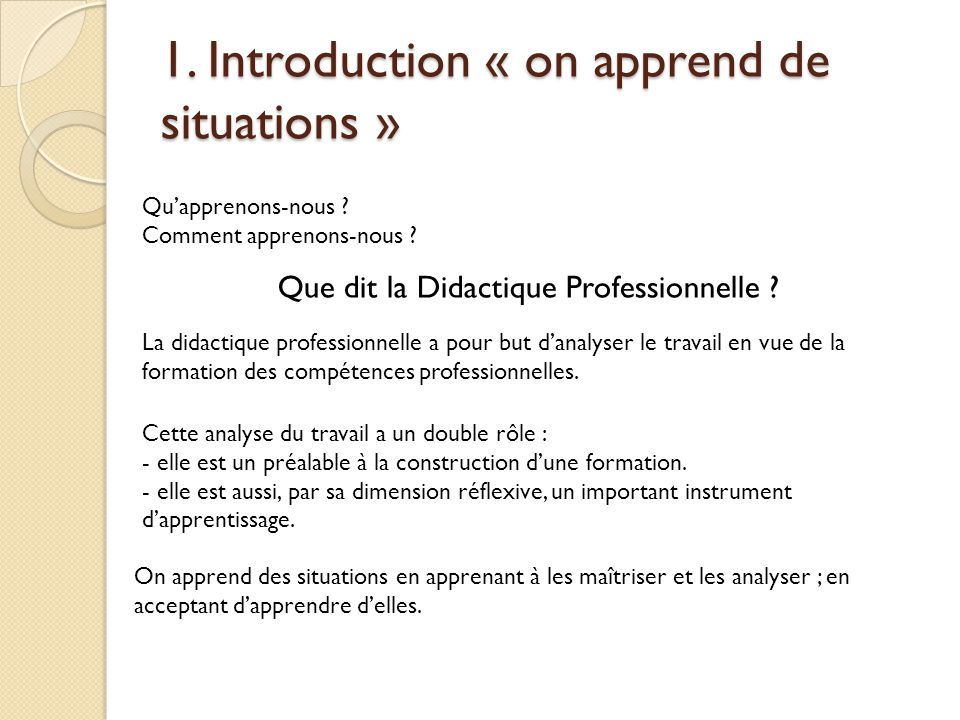 1. Introduction « on apprend de situations » Qu'apprenons-nous ? Comment apprenons-nous ? Que dit la Didactique Professionnelle ? La didactique profes