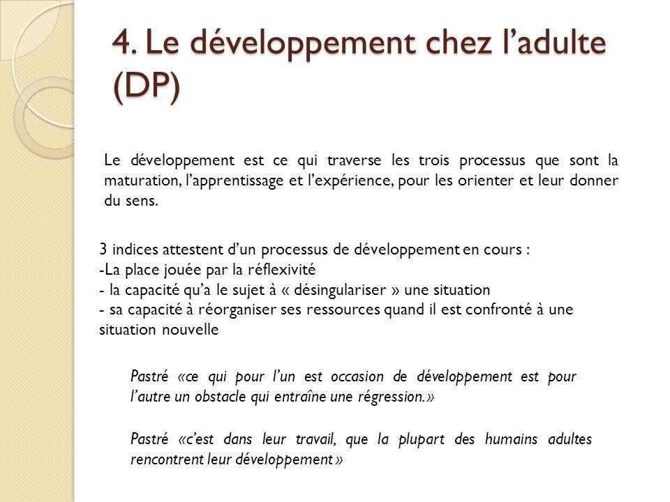4. Le développement chez l'adulte (DP) Le développement est ce qui traverse les trois processus que sont la maturation, l'apprentissage et l'expérienc