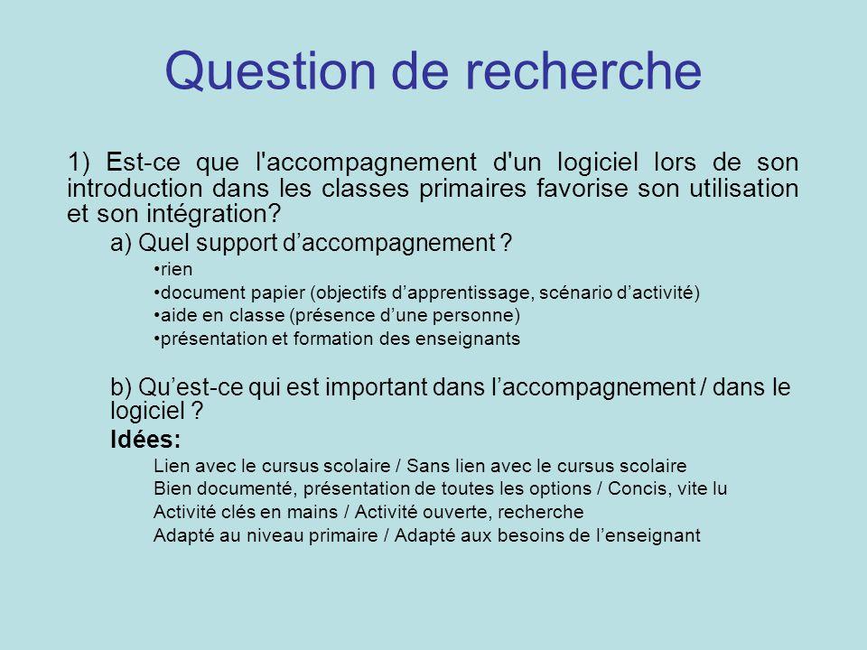 Question de recherche 1) Est-ce que l accompagnement d un logiciel lors de son introduction dans les classes primaires favorise son utilisation et son intégration.