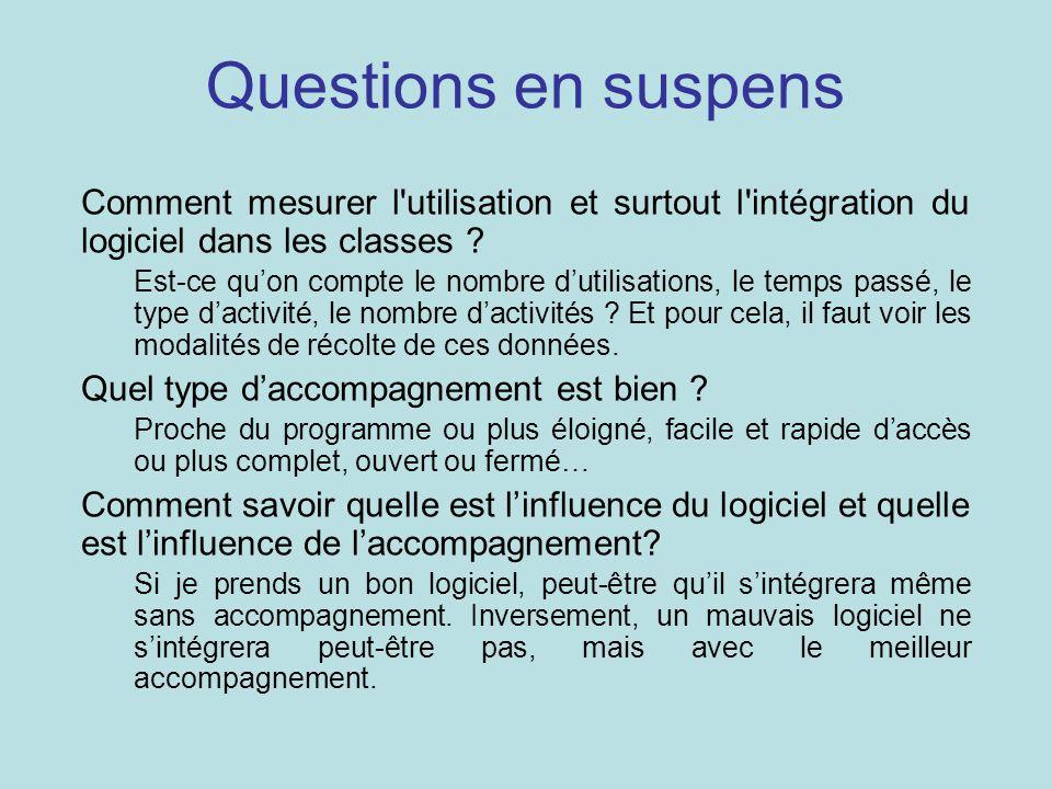 Questions en suspens Comment mesurer l utilisation et surtout l intégration du logiciel dans les classes .