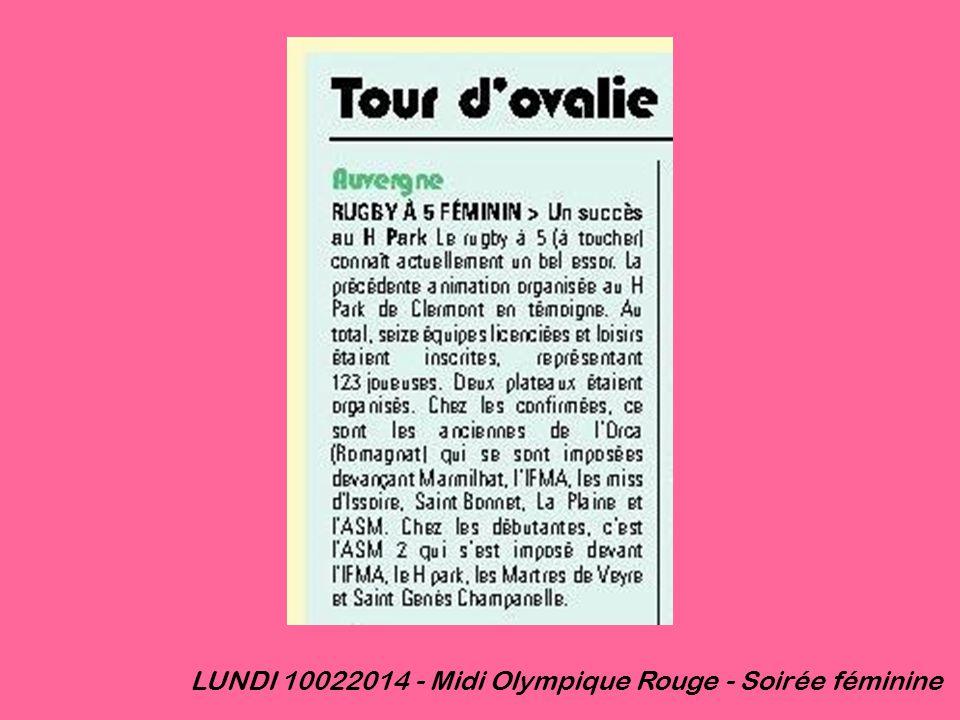 LUNDI 10022014 - Midi Olympique Rouge - Soirée féminine