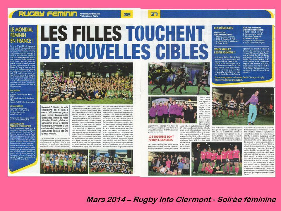 Mars 2014 – Rugby Info Clermont - Soirée féminine