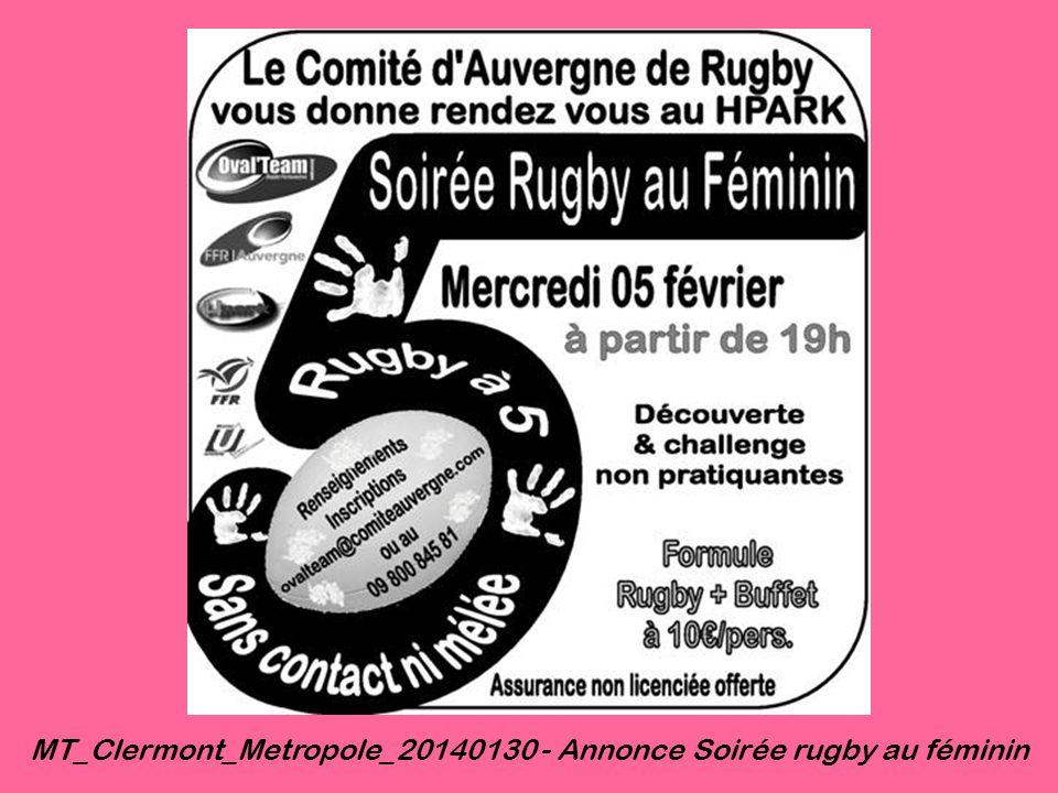 MT_Clermont_Metropole_20140130 - Annonce Soirée rugby au féminin