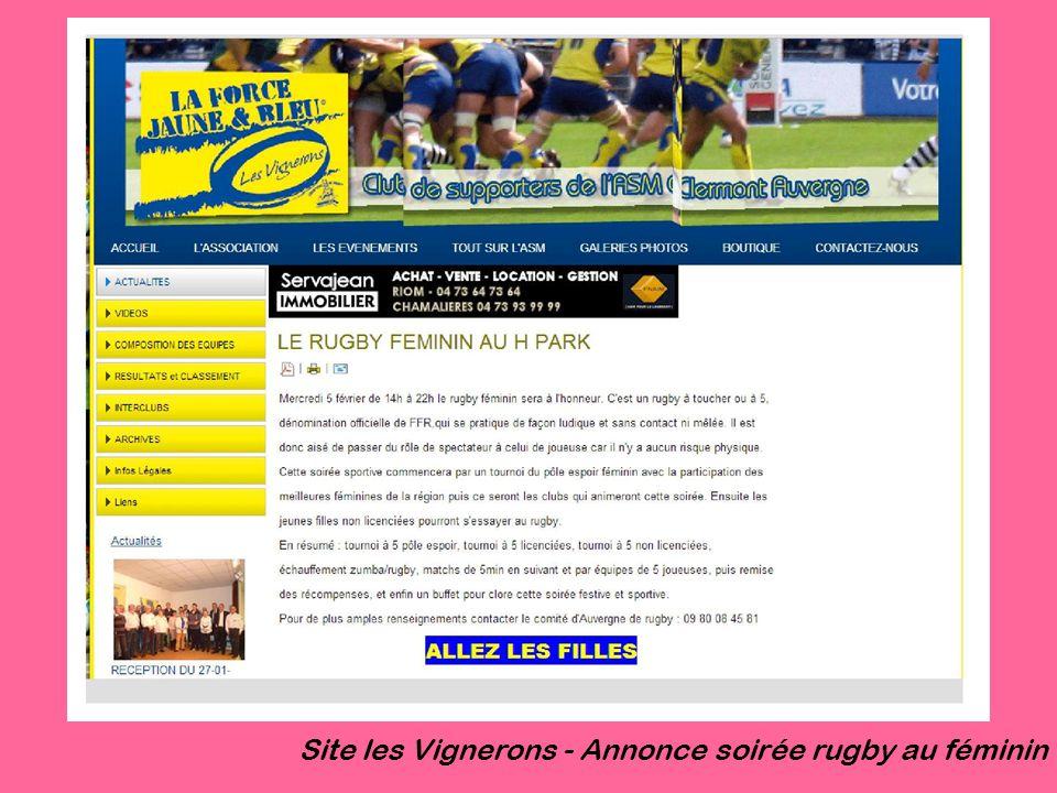 Site les Vignerons - Annonce soirée rugby au féminin