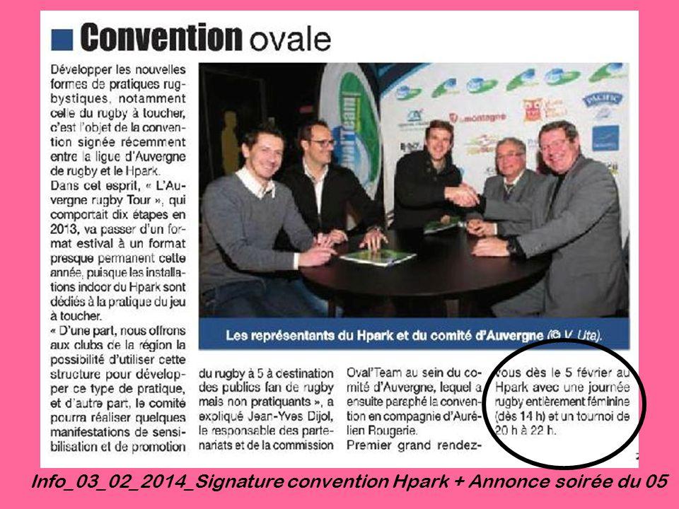 Info_03_02_2014_Signature convention Hpark + Annonce soirée du 05