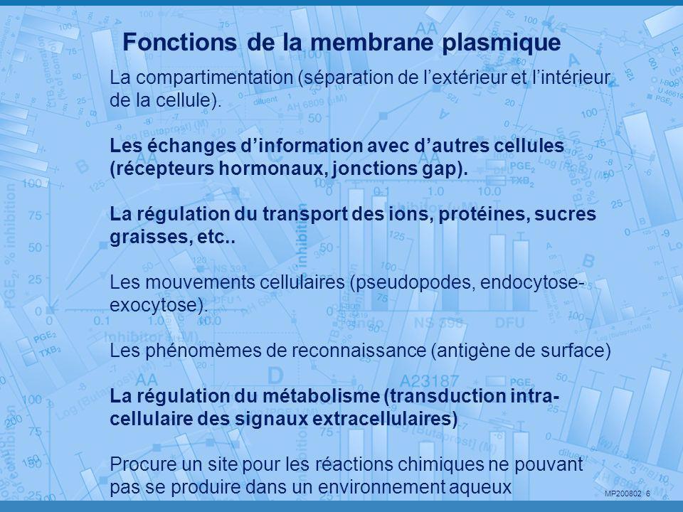 MP200802 6 Fonctions de la membrane plasmique La compartimentation (séparation de l'extérieur et l'intérieur de la cellule). Les échanges d'informatio