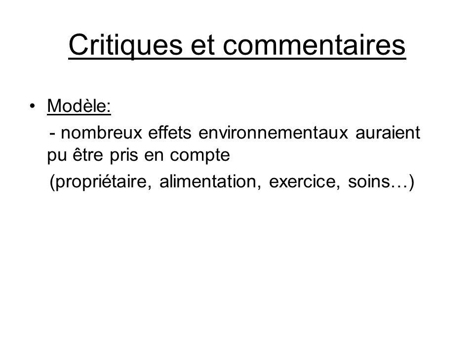 Critiques et commentaires •Modèle: - nombreux effets environnementaux auraient pu être pris en compte (propriétaire, alimentation, exercice, soins…)