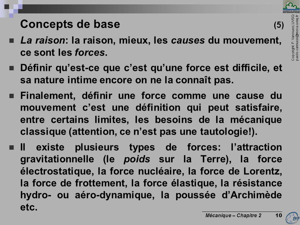 Copyright: P. Vannucci, UVSQ paolo.vannucci@meca.uvsq.fr ________________________________ Mécanique – Chapitre 2 10  La raison: la raison, mieux, les