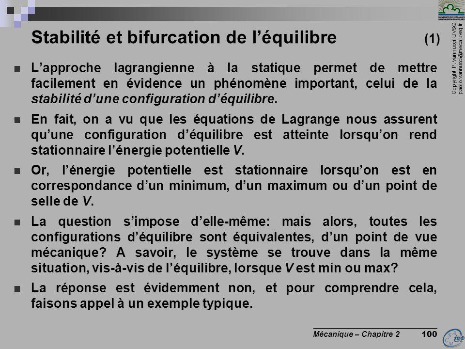 Copyright: P. Vannucci, UVSQ paolo.vannucci@meca.uvsq.fr ________________________________ Mécanique – Chapitre 2 100 Stabilité et bifurcation de l'équ