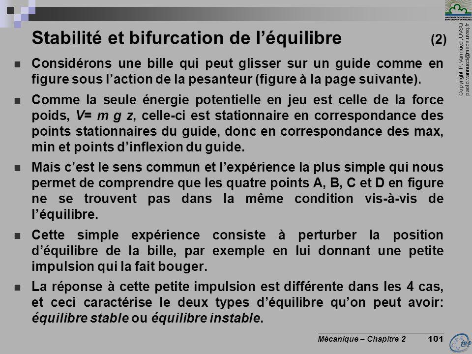 Copyright: P. Vannucci, UVSQ paolo.vannucci@meca.uvsq.fr ________________________________ Mécanique – Chapitre 2 101 Stabilité et bifurcation de l'équ