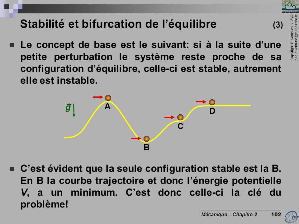 Copyright: P. Vannucci, UVSQ paolo.vannucci@meca.uvsq.fr ________________________________ Mécanique – Chapitre 2 102 Stabilité et bifurcation de l'équ