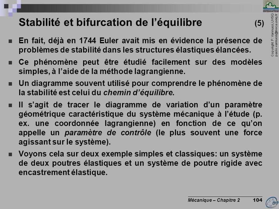 Copyright: P. Vannucci, UVSQ paolo.vannucci@meca.uvsq.fr ________________________________ Mécanique – Chapitre 2 104 Stabilité et bifurcation de l'équ