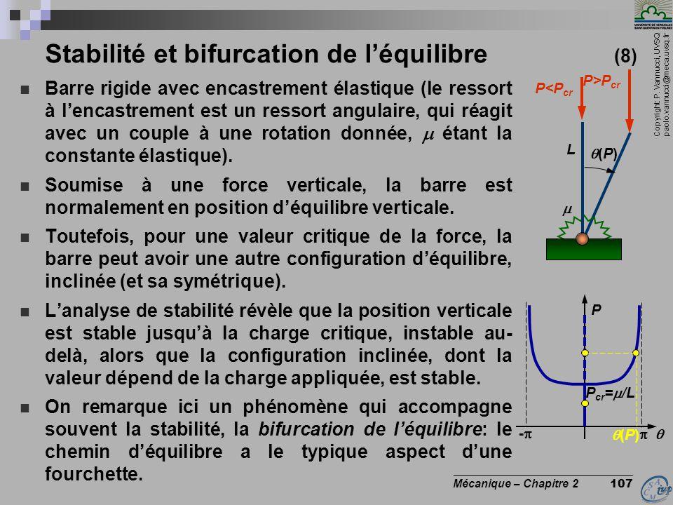 Copyright: P. Vannucci, UVSQ paolo.vannucci@meca.uvsq.fr ________________________________ Mécanique – Chapitre 2 107 Stabilité et bifurcation de l'équ