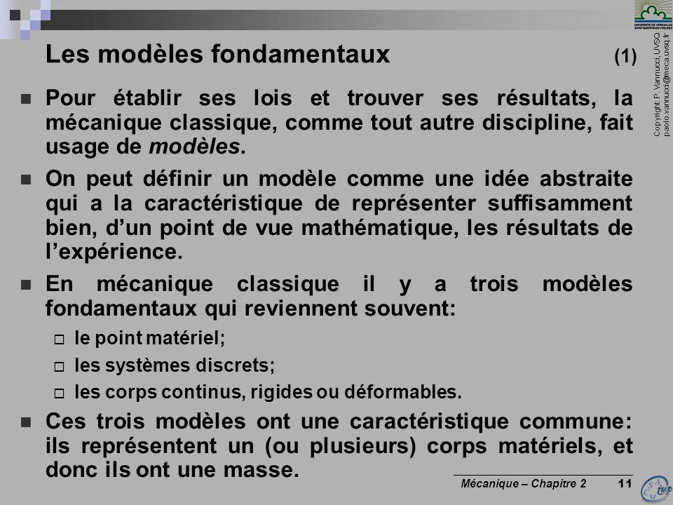 Copyright: P. Vannucci, UVSQ paolo.vannucci@meca.uvsq.fr ________________________________ Mécanique – Chapitre 2 11 Les modèles fondamentaux (1)  Pou