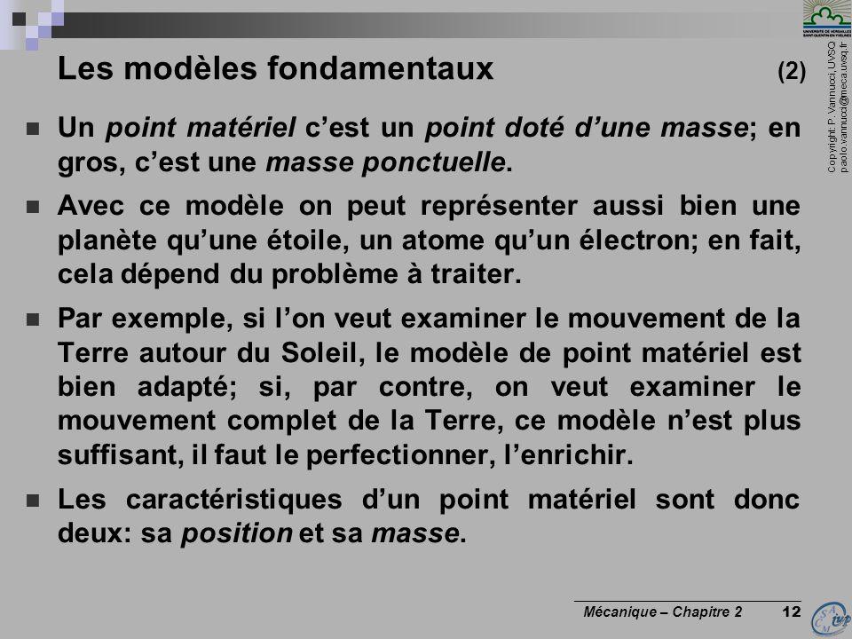 Copyright: P. Vannucci, UVSQ paolo.vannucci@meca.uvsq.fr ________________________________ Mécanique – Chapitre 2 12 Les modèles fondamentaux (2)  Un