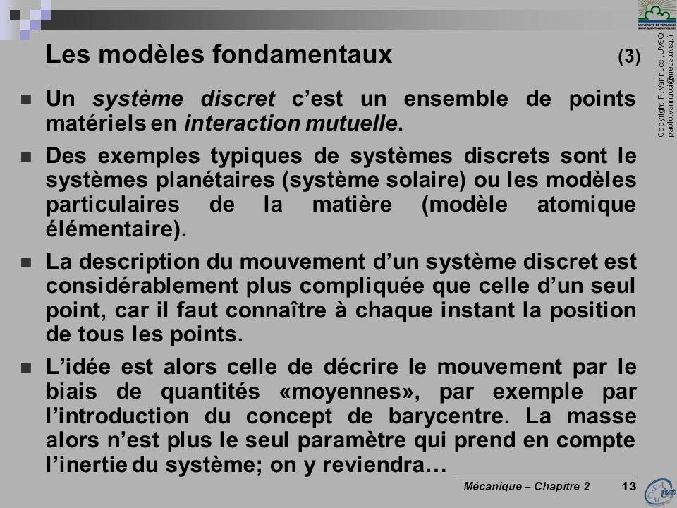 Copyright: P. Vannucci, UVSQ paolo.vannucci@meca.uvsq.fr ________________________________ Mécanique – Chapitre 2 13 Les modèles fondamentaux (3)  Un