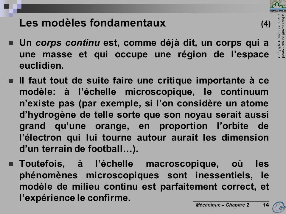Copyright: P. Vannucci, UVSQ paolo.vannucci@meca.uvsq.fr ________________________________ Mécanique – Chapitre 2 14 Les modèles fondamentaux (4)  Un
