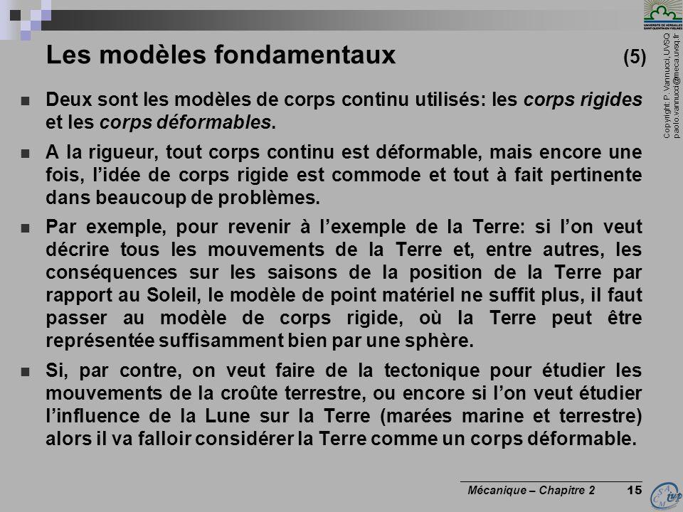 Copyright: P. Vannucci, UVSQ paolo.vannucci@meca.uvsq.fr ________________________________ Mécanique – Chapitre 2 15 Les modèles fondamentaux (5)  Deu