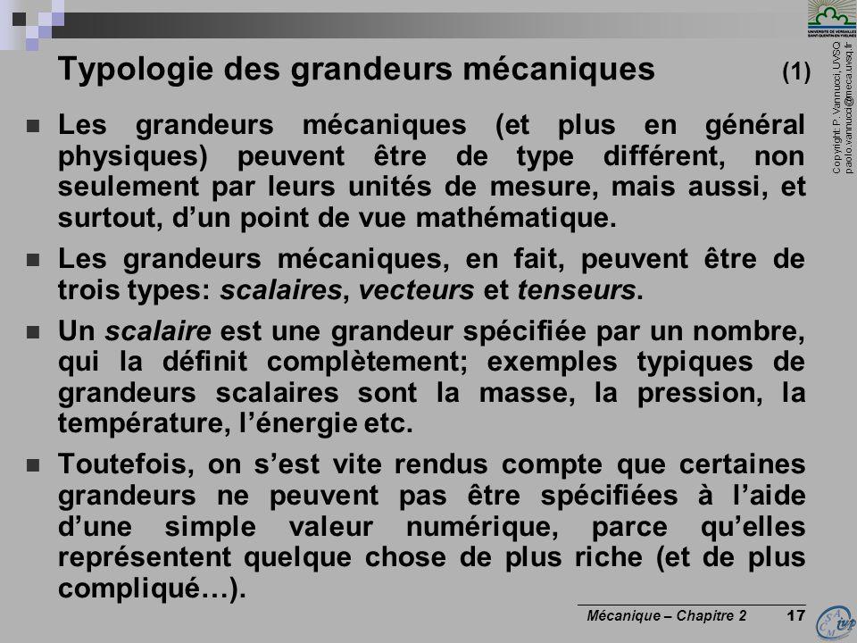 Copyright: P. Vannucci, UVSQ paolo.vannucci@meca.uvsq.fr ________________________________ Mécanique – Chapitre 2 17 Typologie des grandeurs mécaniques