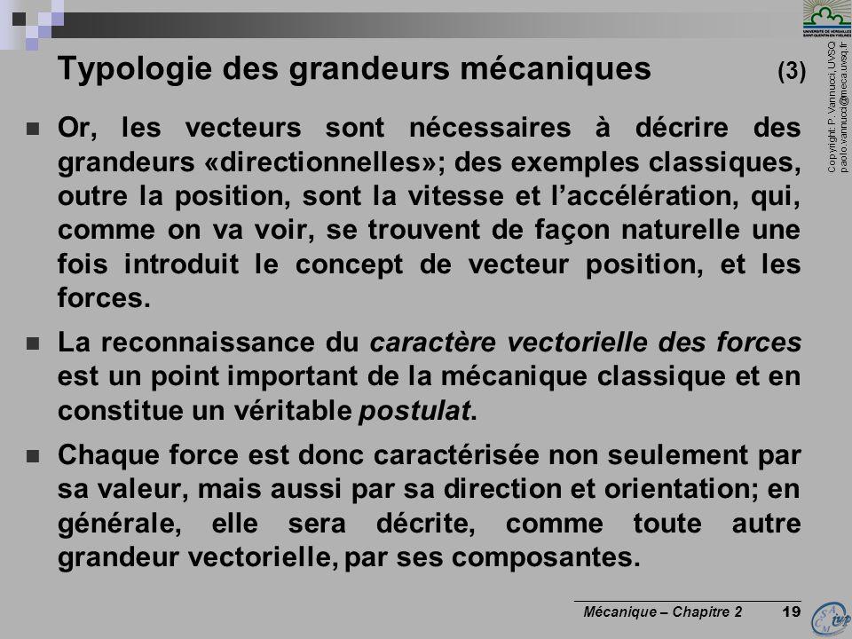 Copyright: P. Vannucci, UVSQ paolo.vannucci@meca.uvsq.fr ________________________________ Mécanique – Chapitre 2 19 Typologie des grandeurs mécaniques