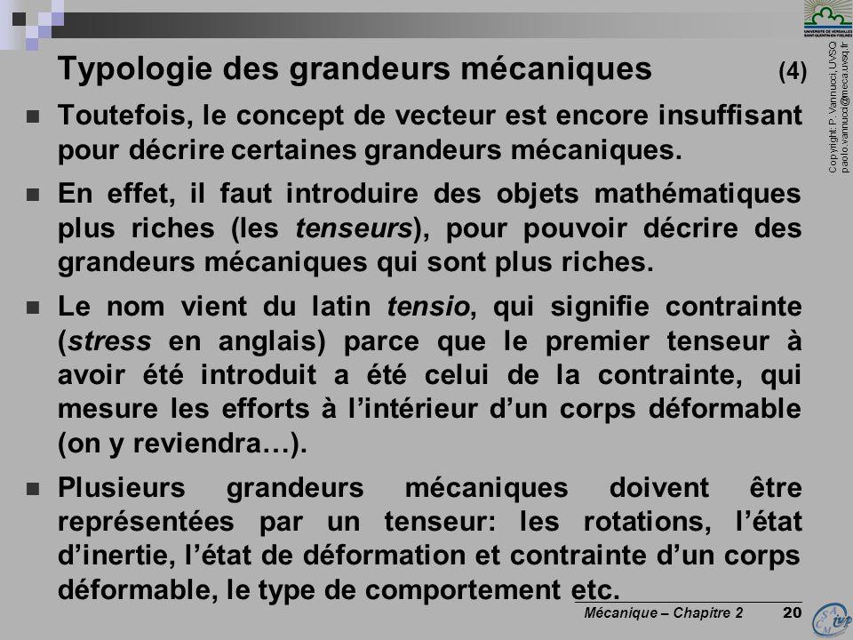 Copyright: P. Vannucci, UVSQ paolo.vannucci@meca.uvsq.fr ________________________________ Mécanique – Chapitre 2 20 Typologie des grandeurs mécaniques