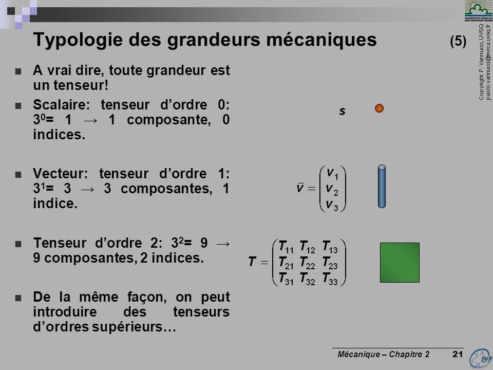 Copyright: P. Vannucci, UVSQ paolo.vannucci@meca.uvsq.fr ________________________________ Mécanique – Chapitre 2 21 Typologie des grandeurs mécaniques