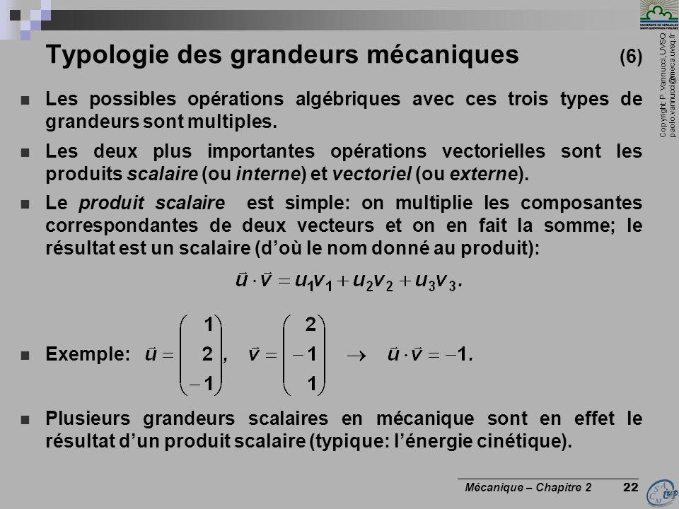 Copyright: P. Vannucci, UVSQ paolo.vannucci@meca.uvsq.fr ________________________________ Mécanique – Chapitre 2 22 Typologie des grandeurs mécaniques