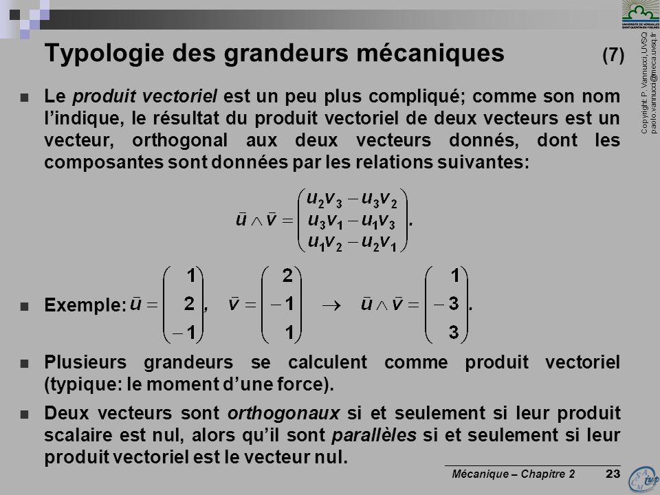 Copyright: P. Vannucci, UVSQ paolo.vannucci@meca.uvsq.fr ________________________________ Mécanique – Chapitre 2 23 Typologie des grandeurs mécaniques