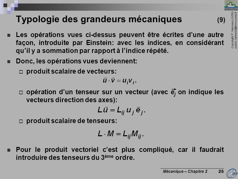 Copyright: P. Vannucci, UVSQ paolo.vannucci@meca.uvsq.fr ________________________________ Mécanique – Chapitre 2 25 Typologie des grandeurs mécaniques