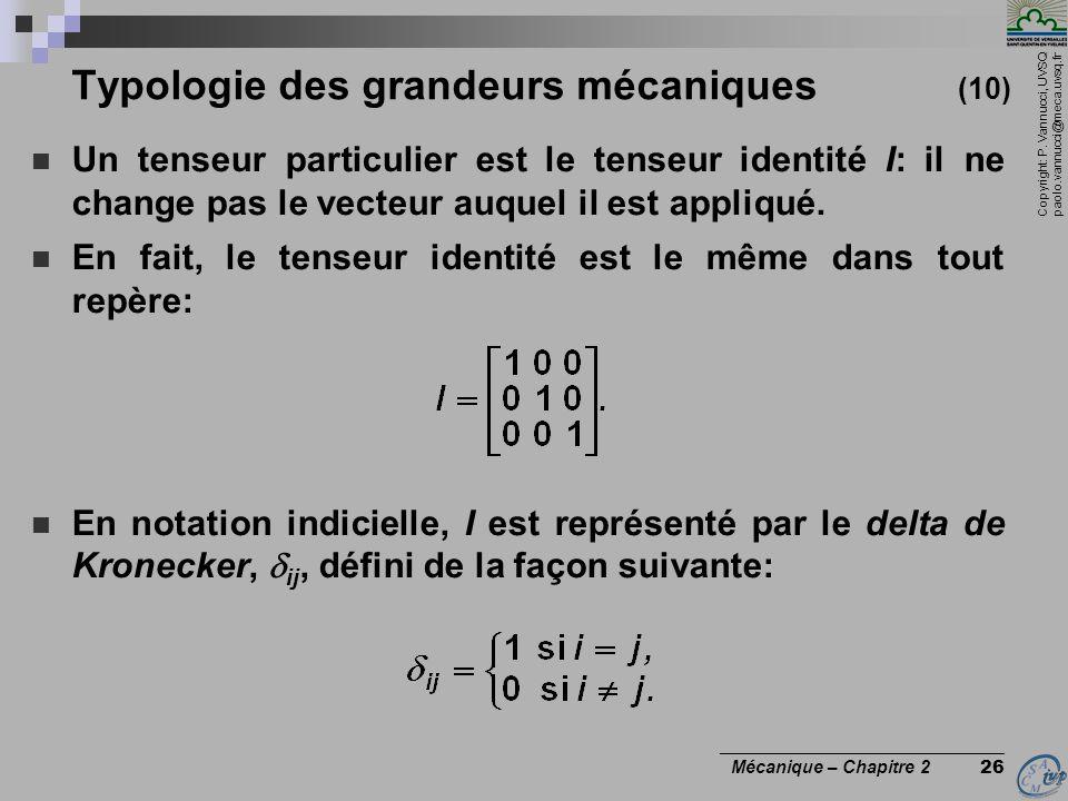 Copyright: P. Vannucci, UVSQ paolo.vannucci@meca.uvsq.fr ________________________________ Mécanique – Chapitre 2 26 Typologie des grandeurs mécaniques