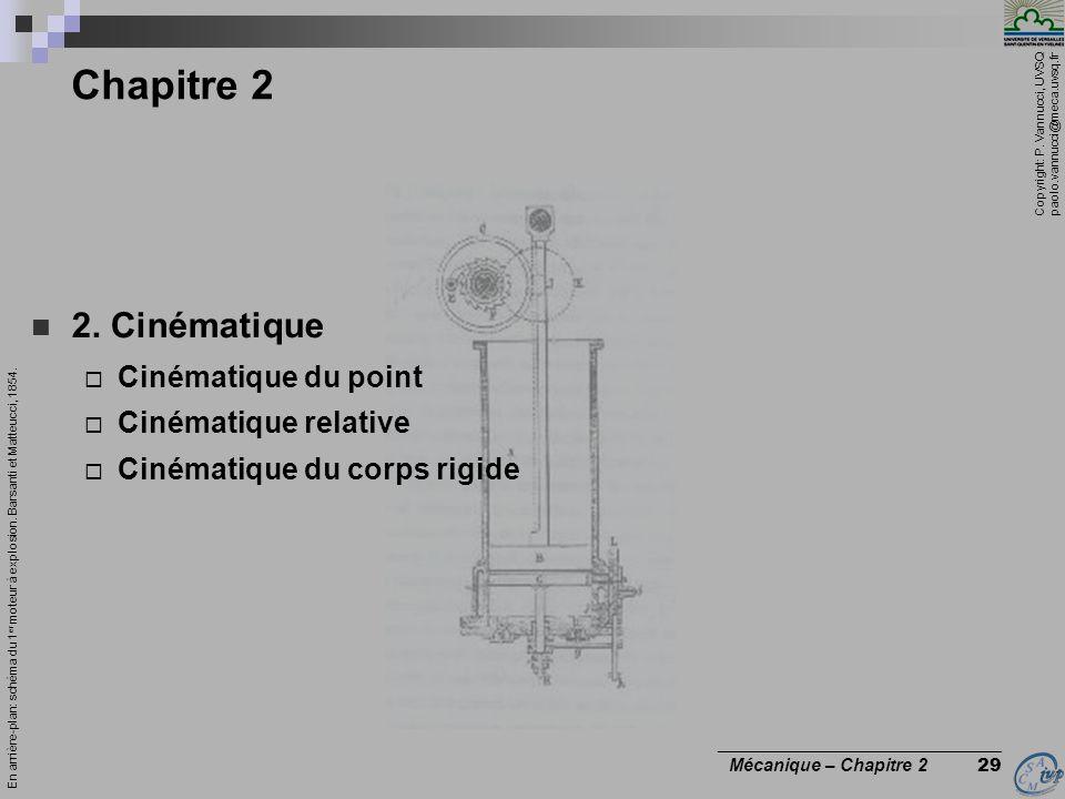 Copyright: P. Vannucci, UVSQ paolo.vannucci@meca.uvsq.fr ________________________________ Mécanique – Chapitre 2 29 Chapitre 2  2. Cinématique  Ciné