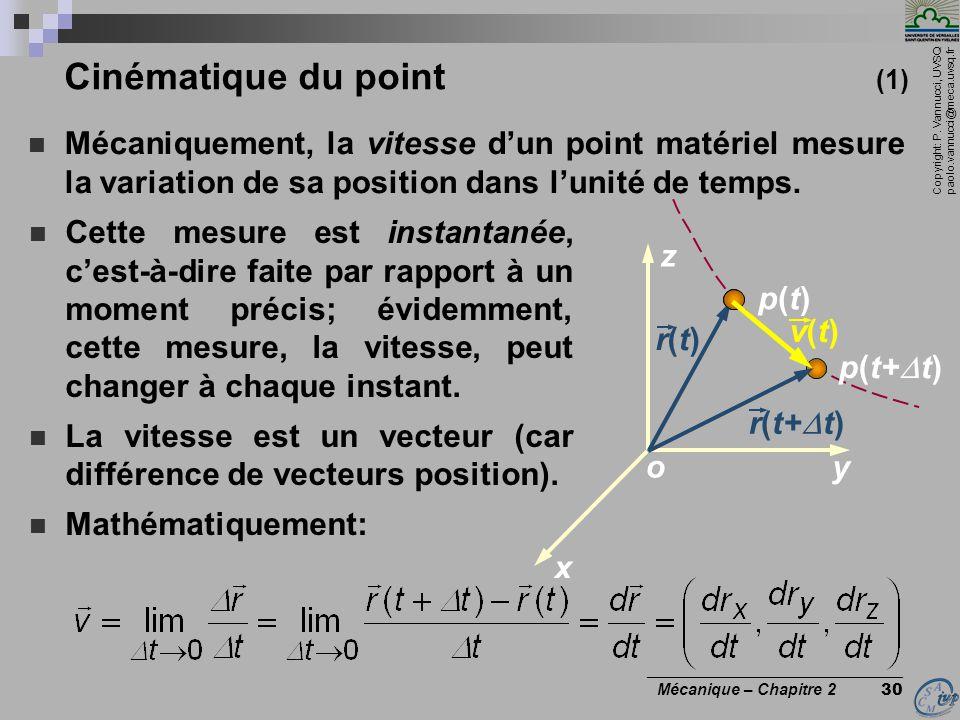 Copyright: P. Vannucci, UVSQ paolo.vannucci@meca.uvsq.fr ________________________________ Mécanique – Chapitre 2 30 Cinématique du point (1)  Mécaniq