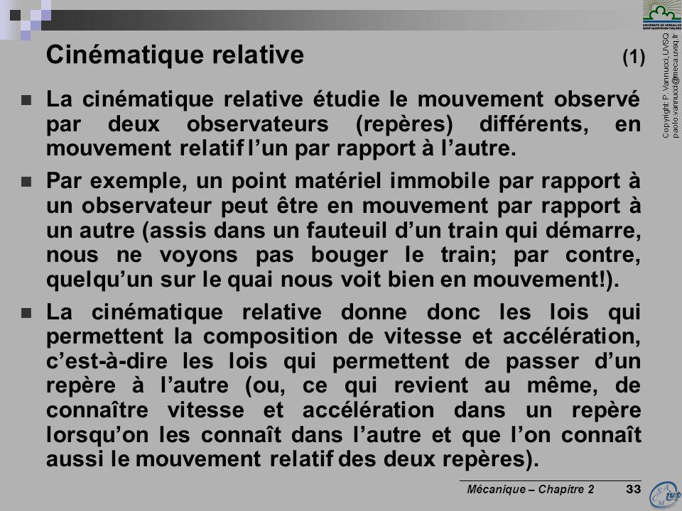 Copyright: P. Vannucci, UVSQ paolo.vannucci@meca.uvsq.fr ________________________________ Mécanique – Chapitre 2 33 Cinématique relative (1)  La ciné
