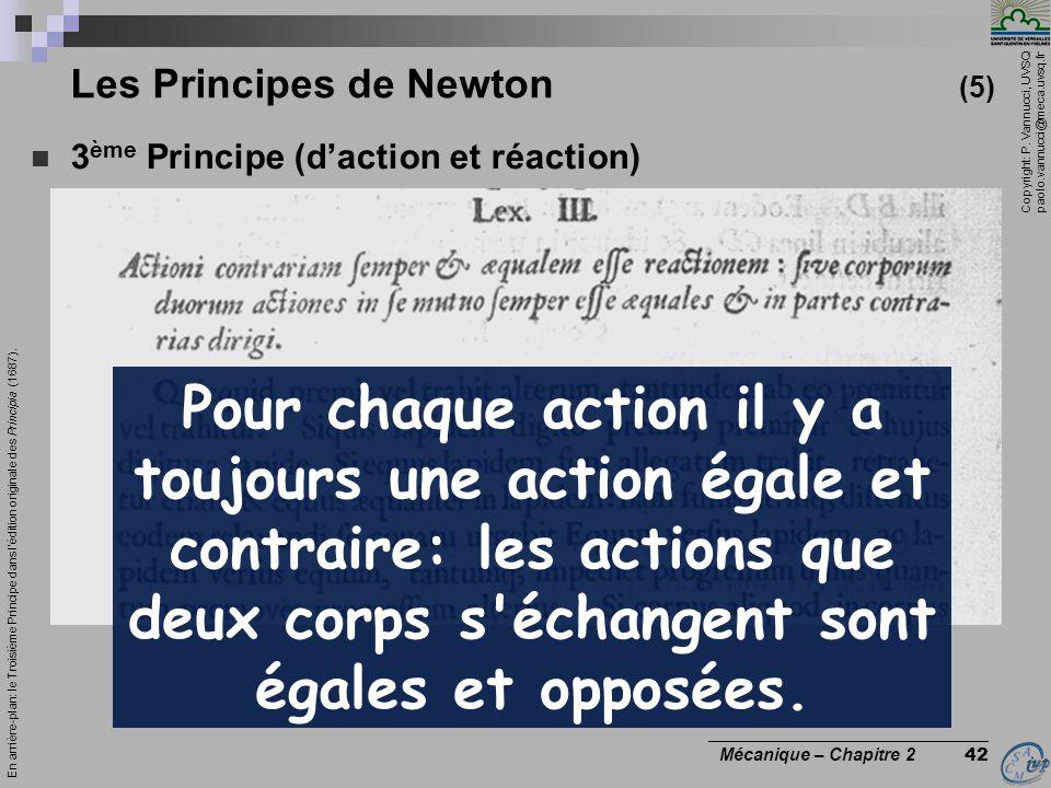 Copyright: P. Vannucci, UVSQ paolo.vannucci@meca.uvsq.fr ________________________________ Mécanique – Chapitre 2 42 Les Principes de Newton (5)  3 èm