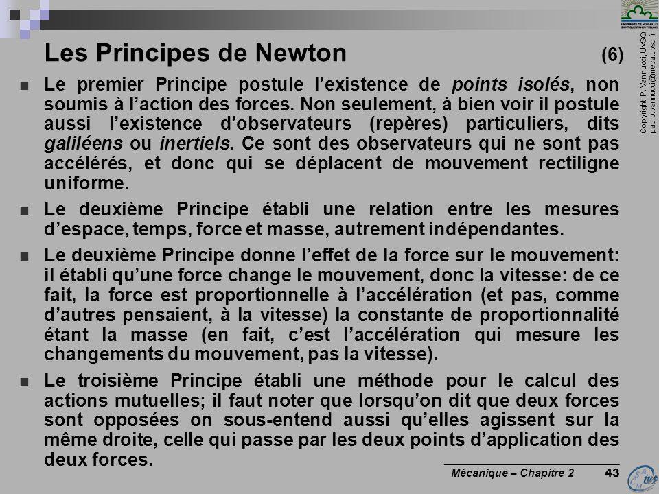 Copyright: P. Vannucci, UVSQ paolo.vannucci@meca.uvsq.fr ________________________________ Mécanique – Chapitre 2 43 Les Principes de Newton (6)  Le p