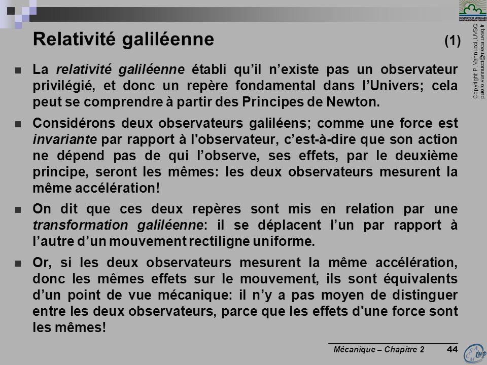 Copyright: P. Vannucci, UVSQ paolo.vannucci@meca.uvsq.fr ________________________________ Mécanique – Chapitre 2 44 Relativité galiléenne (1)  La rel