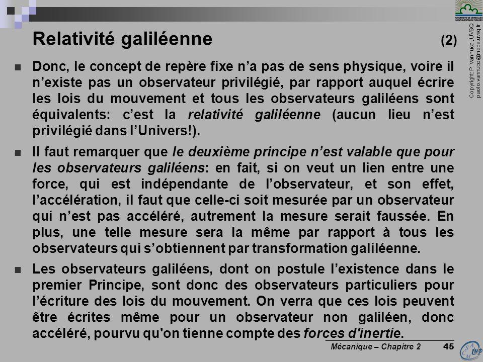 Copyright: P. Vannucci, UVSQ paolo.vannucci@meca.uvsq.fr ________________________________ Mécanique – Chapitre 2 45 Relativité galiléenne (2)  Donc,