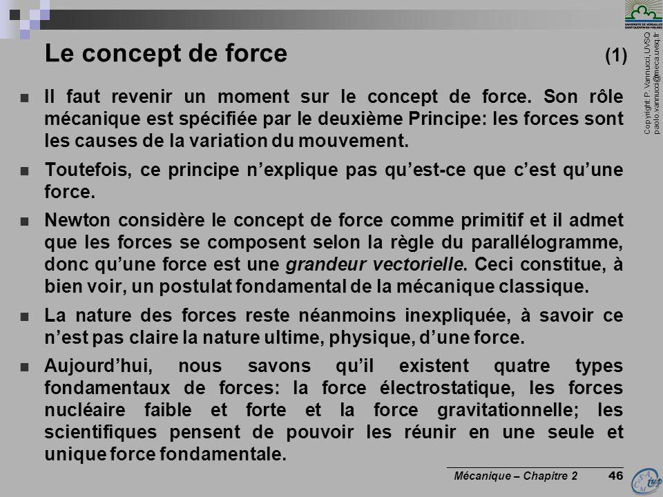 Copyright: P. Vannucci, UVSQ paolo.vannucci@meca.uvsq.fr ________________________________ Mécanique – Chapitre 2 46 Le concept de force (1)  Il faut