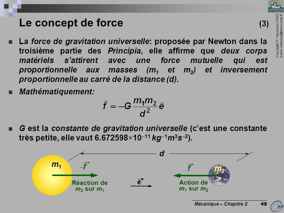 Copyright: P. Vannucci, UVSQ paolo.vannucci@meca.uvsq.fr ________________________________ Mécanique – Chapitre 2 48 Le concept de force (3)  La force